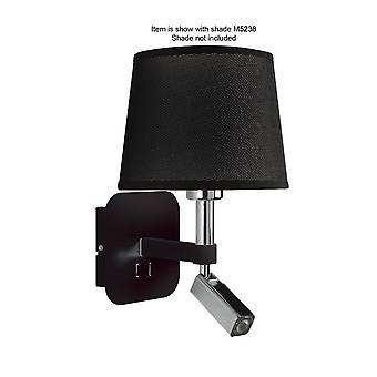 Mantra Habana Wall Lamp 1 Light Without Shade E27 & Reading Light 3W LED Black / Polished Chrome 3000K, 200Lm,, 3Yrs Warranty