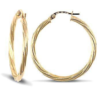 Jewelco London Ladies 9ct Yellow Gold Twisted 2.5mm Hoop Earrings 30mm