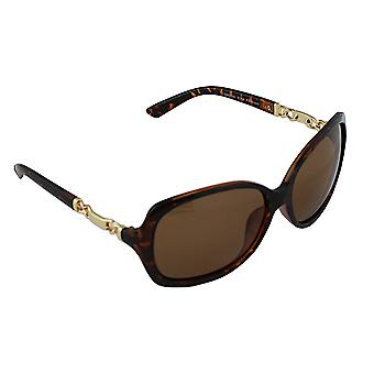Sunglasses Ladies Polaroid Oval - Leopard Brown with free brillenkokerS356_2