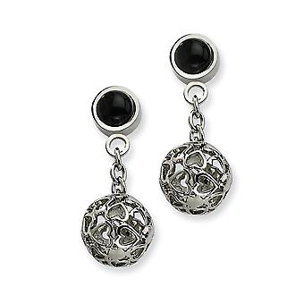 Stainless Steel Polished Love Heart Cutouts Puffed Circle With Simulated Onyx Post Long Drop Dangle Earrings Jewelry Gif