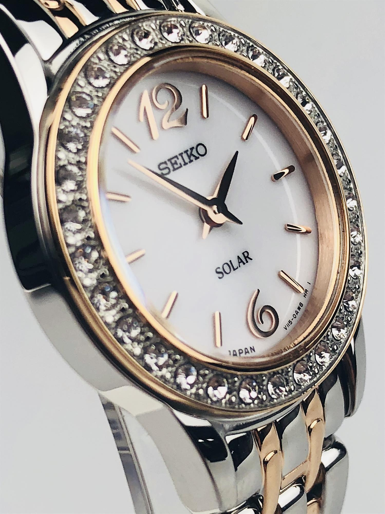 Seiko Dress Solar Two Tone Steel Case and Bracelet Ladies Watch SUP130P9 24mm