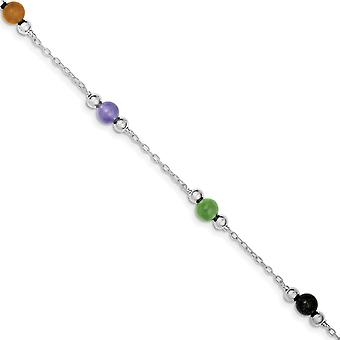 925 Sterling Argento Rhodium-plated lucido Multi-Color Dyed Jade Anklet - 9 Pollici - Anello di molla