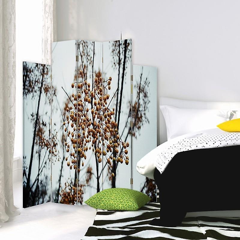 Diviseur de salle décorative, 5 panneaux, toile, arbres fruitiers 2