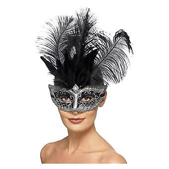 Weneckie Colombina GLO Eyemask, szary z czarnym pióropusze Fancy Dress akcesorium