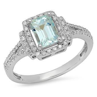 Dazzlingrock Sammlung Sterling Silber Smaragd Aquamarin & Runde weiß Diamant Damen Halo Verlobungsring