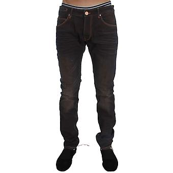 Brown Wash Cotton Stretch Slim Fit Jeans -- SIG3152816