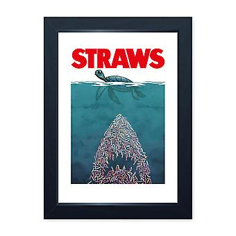 Straws Ocean Environmental Framed Print - Turtle Conservation Plastic Recycling