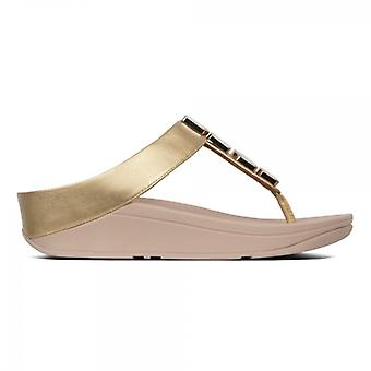 FitFlop Fino Shellstone Ladies Toe Post Sandálias Artisan Gold
