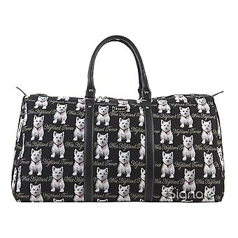 Westie big travel holdall by signare tapestry / bhold-wes