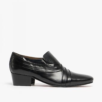 Kensington Xavier Mens Leather Cuban Heel Shoes Black