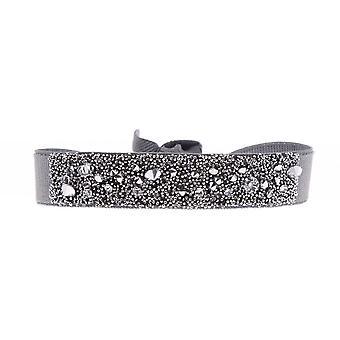 Bracelet Les Interchangeables A36480 - Bracelet Tissu Gris Cristaux Swarovski Femme