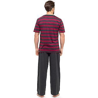 الرجال تي شيرت مخطط أعلى وطويل بنطلون ملابس النوم ملابس البيجاما صالة ارتداء
