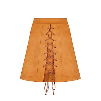 Bright&Beautiful Vintage Lilca Lace Up Rust Skirt