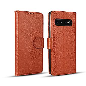 Pour Samsung Galaxy S10 PLUS Case, Brown Cowhide Genuine Leather Wallet Cover