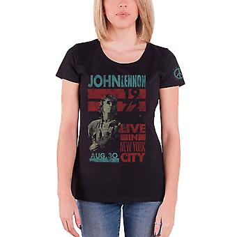 John Lennon T Shirt Live in NYC 1972 new Official Womens Skinny Fit Black