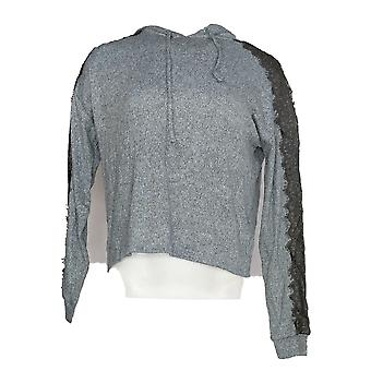 Hippie Rose Women's Sweater Lace Sleeve Hooded Gray