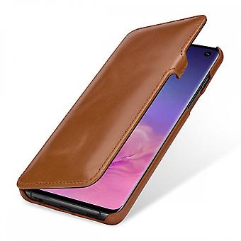 Case For Samsung Galaxy S10 Book Type Cognac In True Leather