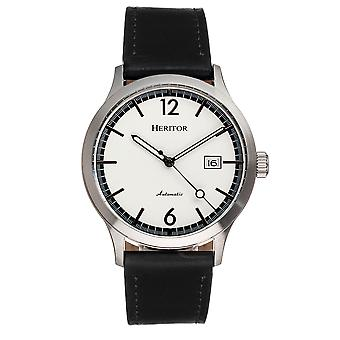Heritor Automatic Becker Leather-Band Watch w/Date - Argent