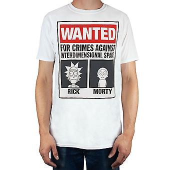 Rick y Morty Wanted Men's blanco rojo cartel impresión camiseta de manga corta