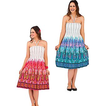 Pistachio Women's Cotton Tribal Print Strapless Summer Dress / Skirt