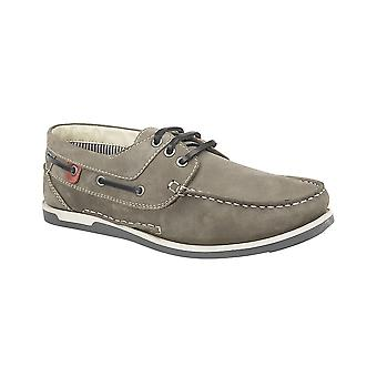 Roamers Grey Nubuck 3 Eyelet Boat Shoe Leather/textile Lining Pu Deluxe Padded ½ Sock Tr Sole