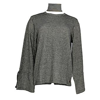 Peace Love World Women's Top French Terry Knit w/Bell Sleeves Gray A296695