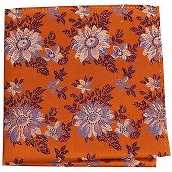 Posh and Dandy Flowers Silk Handkerchief - Burnt Orange