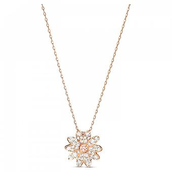 Swarovski Eternal Flower Rose Gold Tone Plated With Pink & White Crystal Pendant