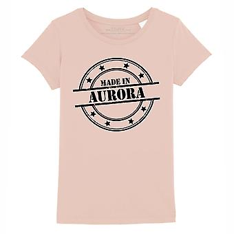 STUFF4 Girl's Round Neck T-Shirt/Made In Aurora/Coral Pink