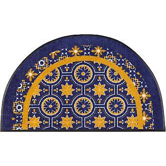 wash+dry Fußmatte Round Azulejo 50 x 85 cm halbrunde Matte