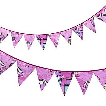 Ready Steady Bed� Fabric Bunting Flags Banner | Printed Polycotton Party and Bedroom Decoration for Kids | Birthday Bunting for Girls or Boys | 3 Metres (Princess Castle)