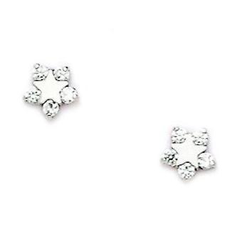 14k White Gold CZ Cubic Zirconia Gesimuleerde Diamond Small Star Schroef terug Oorbellen maatregelen 5x5mm sieraden geschenken voor vrouwen