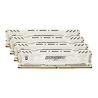 Crucial Ballistix Sport LT BLS4K8G4D30AESCK 3000 MHz, DDR4, DRAM, Fixed Computer Gaming Kit, 32 GB, 8 GBx4, CL15, White