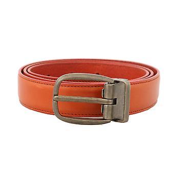 Orange leather gold buckle belt