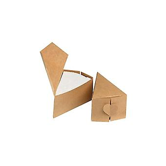 House of Cake House Of Cake Heart Kraft Brown Cake Slice Box - 10 Pack