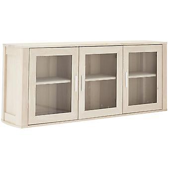 Furnhouse Paris 3 Door Wall Cabinet, Solid Oak, White Oil, 3 étagères, 150x34x60