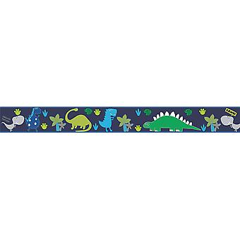 Ready Steady Bed Dino in the Dark Design Children's Self Adhesive Vinyl Wallpaper Border 15cm Wide 5 Metre Long