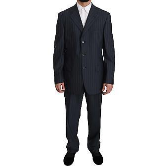Z ZEGNA Blue Striped Two Piece 3 Button Wool Suit -- KOS1455472