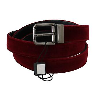 Dolce & Gabbana Red Velvet Polished Silver Buckle Belt BEL60332-100