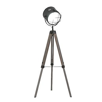 HOMCOM Industrial Style Tripod Floor Lamp for Living Room Bedroom, Vintage Spotlight Reading Lamp with Wooden Legs E27 Base