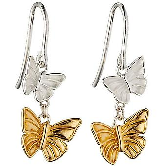 Element Silver Butterfly Drop Örhängen - Silver / Guld