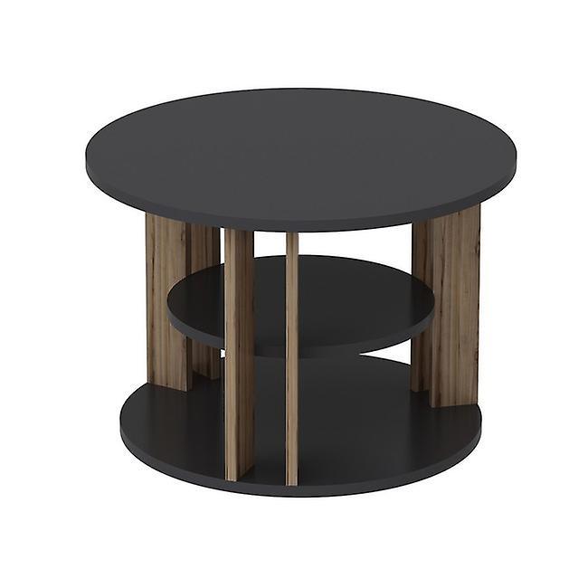 Table basse-apos; Rilla Color Walnut, Anthrathic in Melaminic Chip 68x68x44 cm
