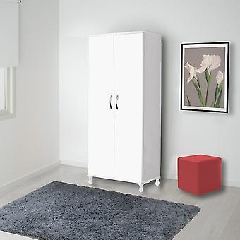 Kumsal White Color Kleiderschrank, Metallgriff und Kunststofffüße 80x47x177 cm