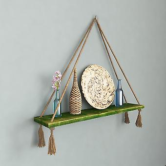 Halatli Regal grüne Farbe, Ecru Holz, Juta, L75xP15xA25 cm
