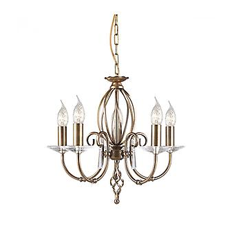 Aegean Pendant, Antique Brass And Glass, 5 Bulbs