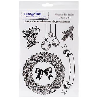"""IndigoBlu Cling Mounted Stamp 9.25""""X6.25""""-Wreathed In Smiles"""