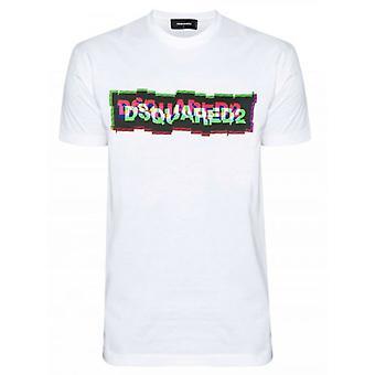 DSQUARED2 ホワイト デジタル ロゴ プリント T シャツ