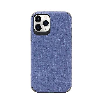 Voor iPhone 11 Pro Max Case Fabric Texture Denim Fashionable Cover Blauw