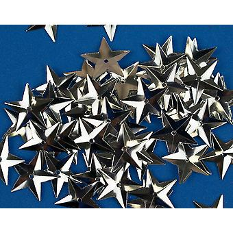50 Metallic Silver 18mm Sequin Stars for Crafts