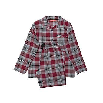 Minijammies Liam 6495 Boy's Burgundy Mix Check Pyjama Set